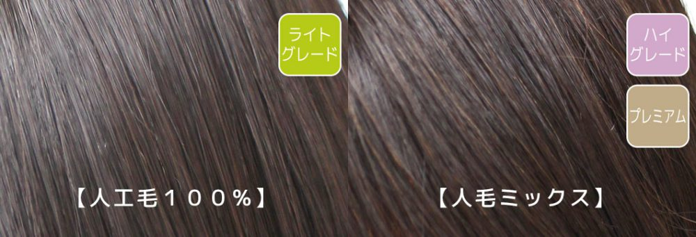 BEAUTY FITの自然な髪質:人工毛100%のライトグレードと人毛ミックスのハイグレードとプレミアムの毛髪アップの画像