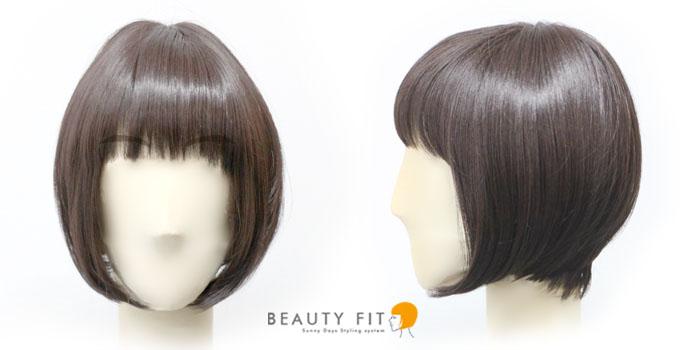 同じ髪型を小さい顔で着用したフロントとサイドからのイメージ