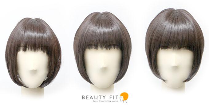 3パターンの顔サイズで、同じ髪型のウィッグを着用した場合の正面からのイメージ