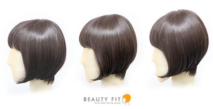 3パターンの顔サイズで、同じ髪型のウィッグを着用した場合のサイドからのイメージ