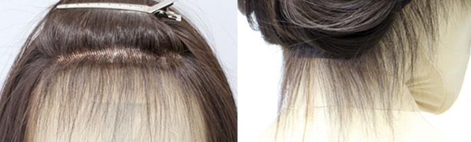 おでこの生え際部分のうぶ毛のアップと、えり足の後れ毛のアップ