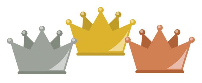 ランキングをイメージした金銀銅の王冠のイラスト