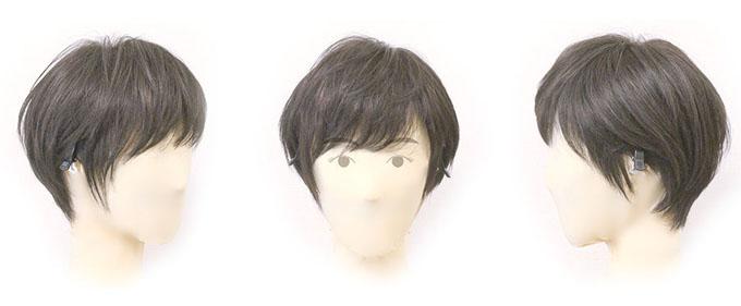 完成したウィッグをマネキンに装着して、前・横・後ろから撮影した画像(耳に掛けた状態)